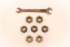 Écrous en métal et d'acier sur le fond blanc Photo stock