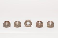 Écrous en métal et d'acier sur le fond blanc Photos libres de droits