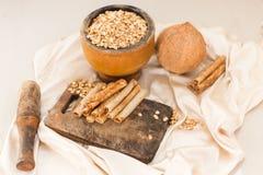 Écrous et gaufres de noix de coco Photo stock