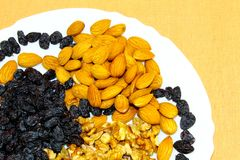 Écrous et raisins secs dans un plat blanc photos libres de droits
