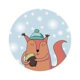Écureuil d'hiver Carte de Noël Photographie stock