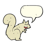 écureuil de bande dessinée avec la bulle de la parole Image libre de droits