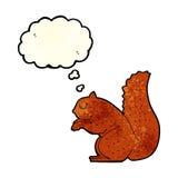 écureuil de bande dessinée avec la bulle de pensée Photo stock