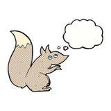 écureuil de bande dessinée avec la bulle de pensée Image libre de droits