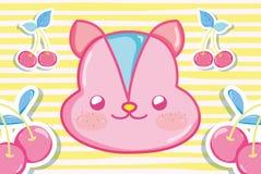 Écureuil et cerises en pastel ivres illustration de vecteur
