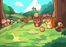 Écureuil et forêt Images stock
