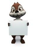 Écureuil retenant le signe blanc. illustration libre de droits