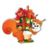 Écureuil rouge avec un grand cadeau d'isolement sur le blanc illustration stock