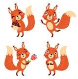 Écureuils drôles et mignons Les caractères dirigent l'ensemble Photos libres de droits