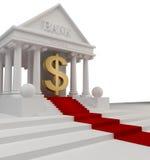 Édifice bancaire avec un symbole USA d'or Image stock