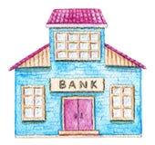 Édifice bancaire bleu d'aquarelle illustration de vecteur
