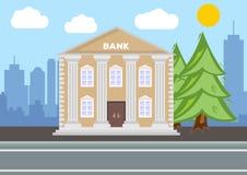 Édifice bancaire Concept de paysage de ville Conception plate illustration libre de droits
