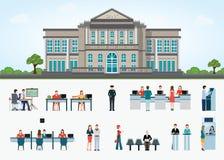 Édifice bancaire extérieur dans l'espace de ville et l'accès public au financ Image libre de droits