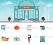 Édifice bancaire extérieur sur le paysage urbain illustration de vecteur