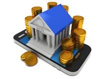 Édifice bancaire sur le smartphone Image libre de droits