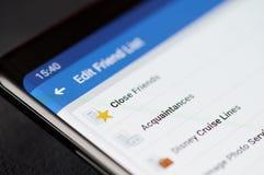 Éditez la liste d'ami dans le facebook images libres de droits