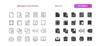 Éditez le pixel des textes UI le vecteur Bien-ouvré que parfait rayent légèrement et la grille 3x solide des icônes 30 pour des g Images libres de droits
