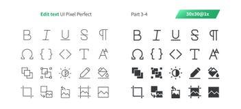 Éditez le pixel des textes UI le vecteur Bien-ouvré que parfait rayent légèrement et la grille 1x solide des icônes 30 pour des g Photo stock