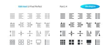 Éditez le pixel des textes UI le vecteur Bien-ouvré que parfait rayent légèrement et la grille 2x solide des icônes 30 pour des g Images stock