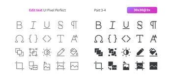 Éditez le pixel des textes UI le vecteur Bien-ouvré que parfait rayent légèrement et la grille 3x solide des icônes 30 pour des g Photo stock