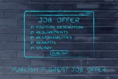 Éditez une grande offre d'emploi, liste d'éléments d'inclure image libre de droits