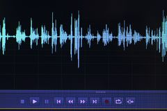Édition audio de studio d'onde sonore photographie stock libre de droits