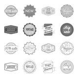 Édition limitée, vintage, discont méga, vente de fouille Le label, a placé des icônes de collection dans le contour, symbole mono illustration stock