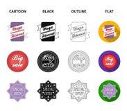 Édition limitée, vintage, discont méga, vente de fouille Le label, a placé des icônes de collection dans la bande dessinée, noir, illustration de vecteur