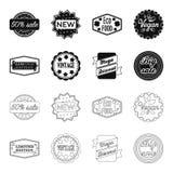 Édition limitée, vintage, discont méga, vente de fouille Le label, a placé des icônes de collection dans le noir, actions de symb illustration de vecteur