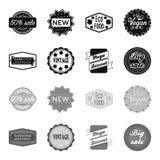 Édition limitée, vintage, discont méga, vente de fouille Le label, a placé des icônes de collection dans le symbole noir et monoc illustration libre de droits