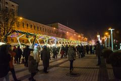 éditorial Kyiv/Ukraine - janvier, 13, 2018 : Décorations de Noël sur Sophia Square au centre de Kiev, Ukraine photographie stock