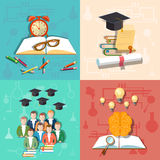Éducation, étudiant, professeur, université, université, icônes de vecteur Photographie stock libre de droits