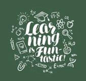 Éducation, apprenant la bannière Lettre écrite dans la craie sur le conseil pédagogique Illustration de vecteur Photos libres de droits