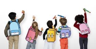 Éducation d'école de sac d'amis de camarades de classe Photographie stock