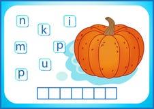 Éducation d'école Flashcard anglais pour apprendre l'anglais Nous écrivons les noms des légumes et des fruits Les mots est un jeu illustration libre de droits