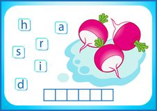 Éducation d'école Flashcard anglais pour apprendre l'anglais Nous écrivons les noms des légumes et des fruits Les mots est un jeu illustration de vecteur
