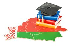 Éducation dans le concept du Belarus, rendu 3D Image stock