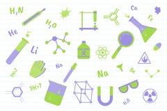 Éducation de la science de chimie avec de divers objets et ligne fond - illustration de papier de vecteur illustration de vecteur