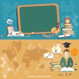 Éducation de nouveau aux bannières d'étudiants d'écolier de tableau noir d'école Photos libres de droits