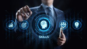Éducation de qualifications apprenant le concept personnel d'affaires de compétence de développement illustration de vecteur
