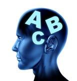 Éducation de thérapie d'écriture de lecture sur les lèvres de cerveau Image stock