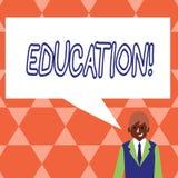 Éducation des textes d'écriture Concept signifiant l'enseignement des étudiants par exécution de la dernière technologie illustration stock