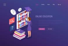 Éducation en ligne Cours de formation, apprentissage en ligne, séminaires, études d'université, acquisition de connaissance illustration libre de droits