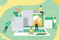 Éducation en ligne, cours de langues, apprentissage en ligne illustration libre de droits
