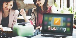Éducation en ligne d'icône de crayon apprenant le concept graphique Photo libre de droits