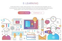 Éducation en ligne d'Internet dans l'illustration plate à la mode de concept d'affiche de couleur de gradient pour le web design Photos libres de droits