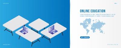 Éducation en ligne de bannière Calibre de conception de page d'atterrissage pour le site Web avec la carte du monde de technologi illustration stock