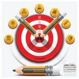 Éducation et étape Infographic d'étude avec la cible Su de crayon illustration stock