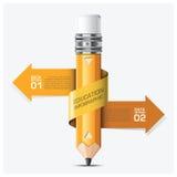 Éducation et étude avec l'étape en spirale Infographic de crayon de flèche illustration de vecteur