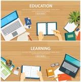 Éducation et étude du calibre plat de conception de bannière Photographie stock libre de droits